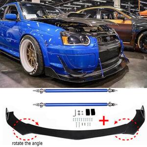 For Subaru WRX / STI Glossy Black Front Bumper Lip Spoiler Splitter + Strut Rods