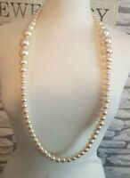 Vintage Necklace Bead 1980s Graduated  Faux Pearl Long costume jewellery jewelry