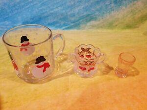 3 Holiday Christmas Glasses with vintage shot glass Christmas