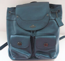 New COACH Grain Leather Metallic Blue MICKIE BACKPACK - F36683
