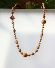 """Gorgeous carved picture Jasper bead gold filled beads knotted 34""""  NECKLACE"""
