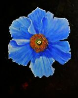 "Original Acrylic Painting Canvas flower Art Wall Decor. Blue Flora 16"" x 20"""