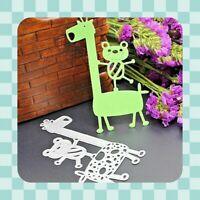Metal Cutting Die - Bear & Giraffe - Cute - Stencil - Embossing-Crafting - UK