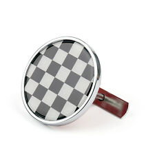 Front Grill Badge w/Holder Black Checkered Pattem For MINI Cooper R50/55/56 C/A5