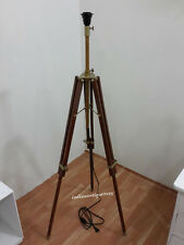 ANTIQUE ROYAL NAUTICAL TRIPOD FLOOR LAMP WOODEN TRIPOD LAMP STAND SHADE TRIPOD