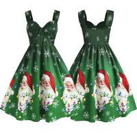 Plus Size Womens Vintage Christmas Santa Claus Snowflake Print Swing Party Dress