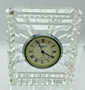 """Waterford Vintage Crystal Desk Clock 3""""-Made in Ireland-BATTERY NEEDED"""