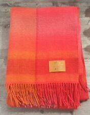 Royal Camel House Italy 100% Lambswool Throw Blanket - Orange - Gift Boxed - New
