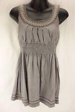 THE CLOTHING COMPANY Gray Metallic Sleeveless Beaded Shirt Tunic Women's Size L