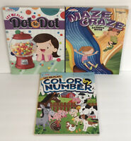 New 3 Dot To Dot, Maze Craze, Color By Number Books Kids Puzzles Educational