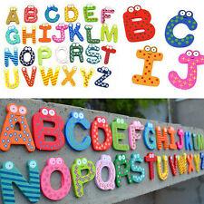 Cool 26pcs Letters A-Z Kids Wooden Alphabet Fridge Magnet Child Educational Toys