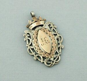 Fine Antique Sterling Silver & Gold Albert Watch Fob Medal - Birmingham 1924