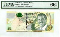 BAHAMAS 1 DOLLAR 2008 BAHAMAS CENTRAL BANK GEM UNC PICK 71 VALUE $66