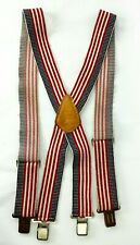 CUSTOM LEATHER CRAFT Work Suspenders Patriotic Red White Blue 4th of July Clip