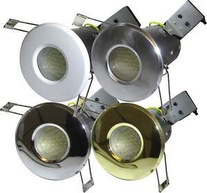 LED BATHROOM SHOWER DOWNLIGHT 240v MAINS FIRE RATED Chrome White Brass