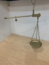 Vintage Ornate Solid Brass Hand Held Balance Beam Hanging Scale
