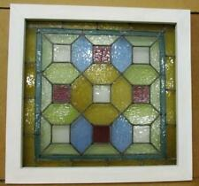 """VICTORIAN ENGLISH LEADED STAINED GLASS WINDOW Geometric Pastels 21.25"""" x 22.25"""""""