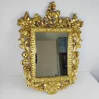 """Vintage1960's Hollywood Regency Style Molded Gold Ornate Square Mirror 30"""" x 21"""""""