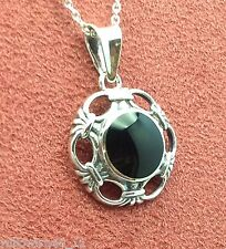 whitby jet and sterling silver pendant jp111 hand made in whitby