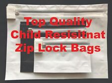 "100 Pcs White Child Proof Resistant Zip Lock Bags Stand Up Pouch 8"" x 6"" x 2.3"""
