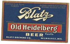 Darker blue 4% Old Heidelberg Beer Label, Irtp, Blatz Brewing Co., Milwaukee, Wi