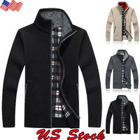 US Mens Sweater Winter Warm Thicken Zipper Pullover Sweater Casual Knitwear Coat