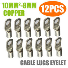 12pcs 10mm²-8mm Cable Lug Terminal Connector Ring Wire Cable Crimp Silver Tone