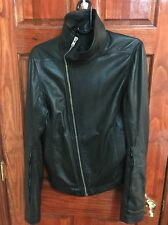Rick Owens moody Bauhaus Leather Jacket Size 48 Black Thick Calf Skin  Designer