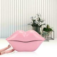 European Style Wired Telephone Fashionable Pink Lips Shape Home Desktop Landline