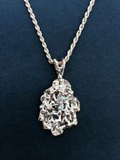 """Gold Nugget Pendant Charm 20"""" Rope Chain Necklace CZ Jewelry Free Shipping Gift"""