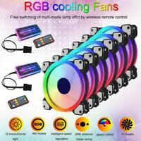 RGB LED Quiet Computer Case PC Cooling Fan 120mm with  Remote Control Top