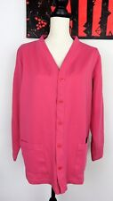 Appleseeds Womens Long Sleeve Cardigan Cotton Blend V Neck Button Front Pink L