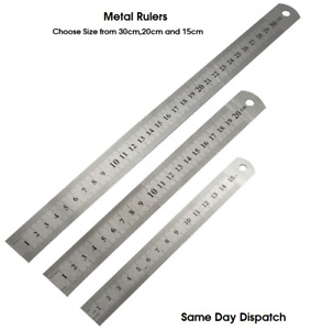 "Double Side Metal Ruler Stainless Steel- 30cm-20cm-15cm 12""/ 8""/6"""