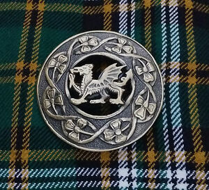 Celtic Welsh Dragon Kilt Fly Plaid Brooch Antique Welsh Fly Plaid Pin Brooches