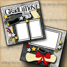 GRADUATION DAY 2 premade scrapbook pages paper piecing layout school ~ DIGISCRAP
