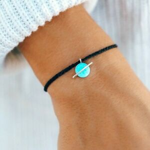 PURA VIDA   OPAL SATURN CHARM   BLACK WITH BLUE OPALESCENT   SAME DAY SHIPPING