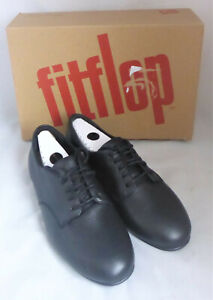 Fitflop Adeola Lizard Embossed All Black Lace Up Derby Leather Shoes Ladies Sz 5