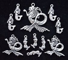 11 piece MERMAID CHARM SET, Size 18mm to 36mm, Antiqued Tibetan Silver
