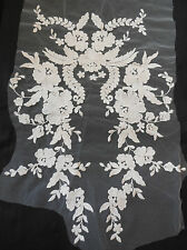 Ivory bridal wedding cotton floral lace applique ivory bolero lace motif 30x44cm