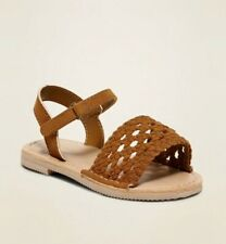 New OLD NAVY Sueded Ankle Strap Sandals Braided Toddler Girls