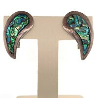 VTG Estate Taxco Mexico SG Sterling Silver & Abalone Screw Back Earrings! 180