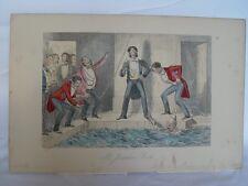 Mr. Jorrocks´s Bath' Grabado  coloreado original  de John Leech en 1840-1855