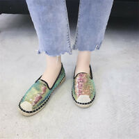 New Womens Sequins Espadrilles Round Toe Weave Loafers Casual Boat Shoes Slip on