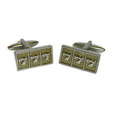 Silver Fruit Machine Lucky 7S Symbol Cufflinks With Gift Pouch Casino Jackpot