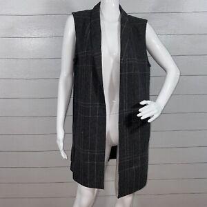 Eileen Fisher Long Wool Vest Women's Size XS Grey Plaid Sleeveless Open Front
