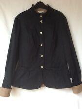 Full Circle Fitted Unlined Cotton Pleated Stretch Black Taupe Jacket Size 12/14