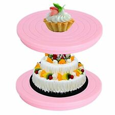2pcs 55in Mini Cake Turntable Plastic Rotating Cake Stand For Decorating And
