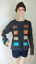 FT4 COTTON T-SHIRT NEPAL : Handmade Multi-color Patchworks Funky Top Blouse S/M