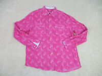 Bugatchi Uomo Button Up Shirt Adult 2XL XXL Pink White Long Sleeve Casual Mens