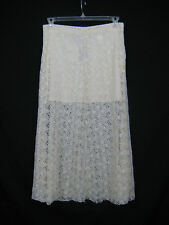 Zara Midi Skirt Women Size L Cream Ivory Guipure Lace Layered Long Side Zip